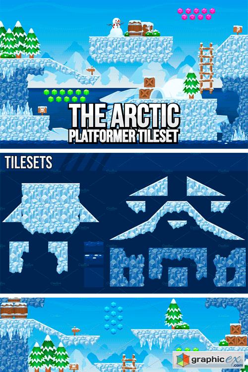 The Arctic - Platformer Tileset » Free Download Vector Stock