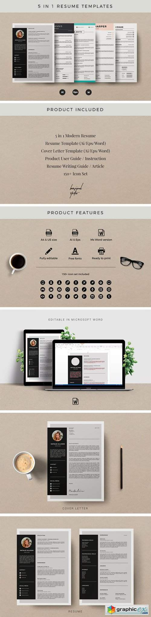 5 in 1 Resume Template | CV