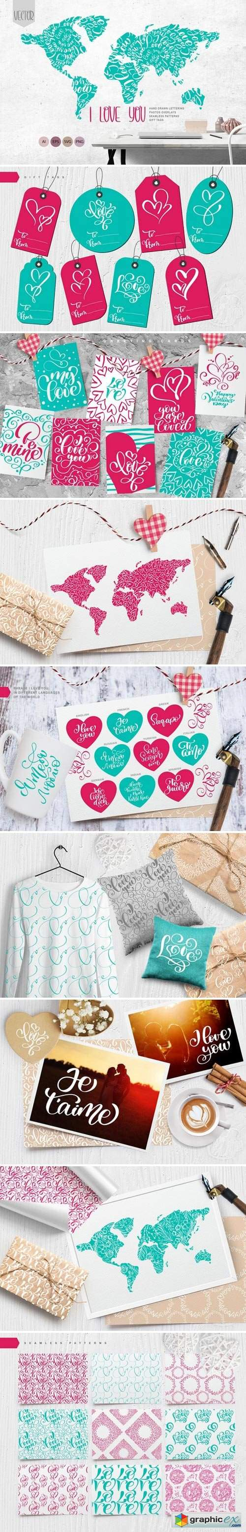 Valentines «I Love You» Vector Cards