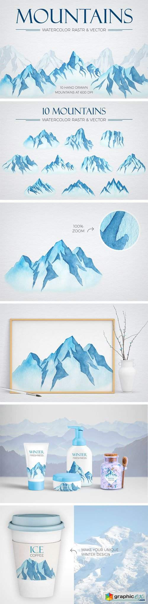 Watercolor Winter Mountains