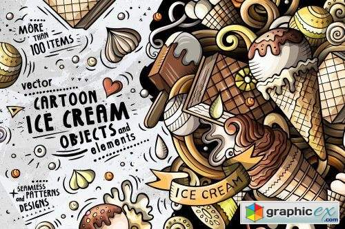 Ice-Cream Cartoon Doodle Big Pack