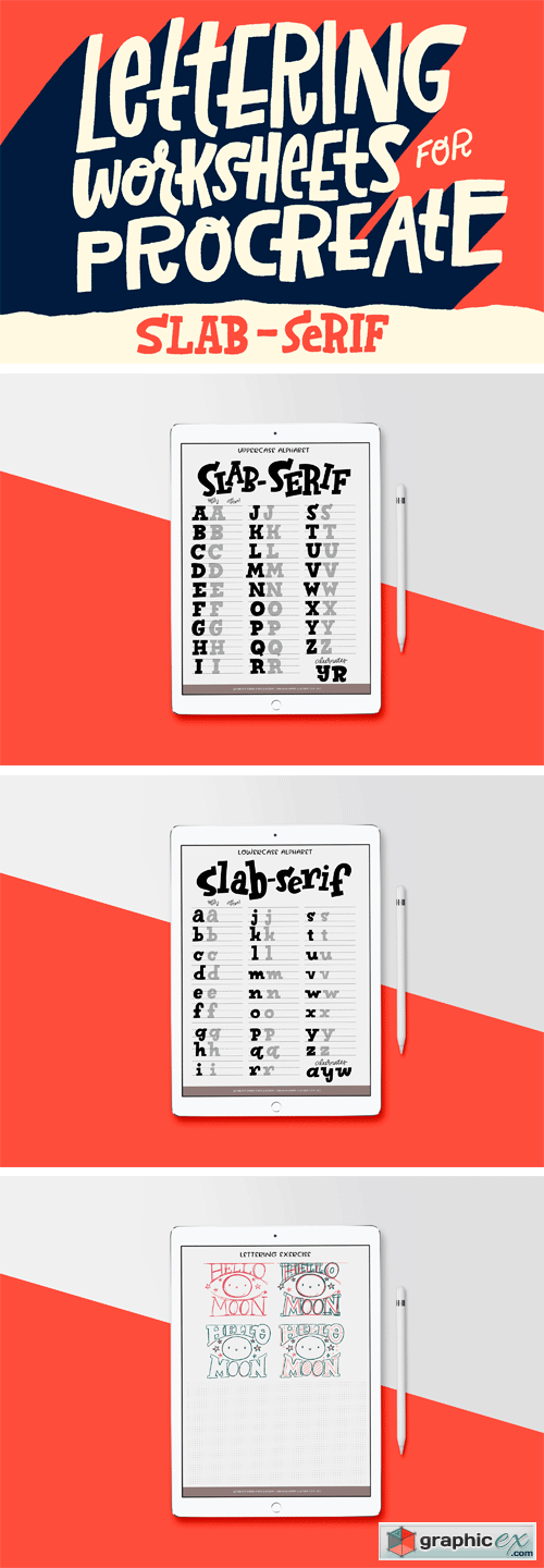 Slab-Serif Lettering Worksheet