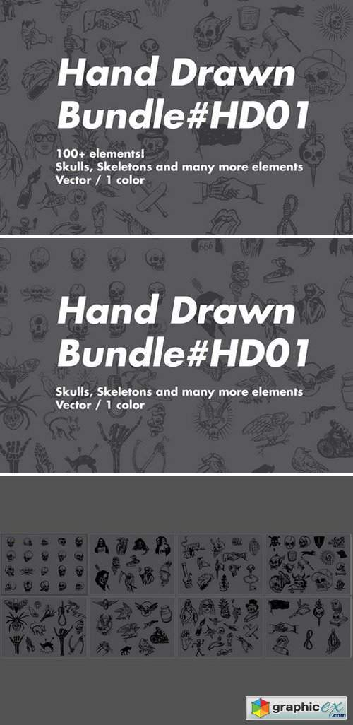 Hand Drawn SKULLS Bundle HD01
