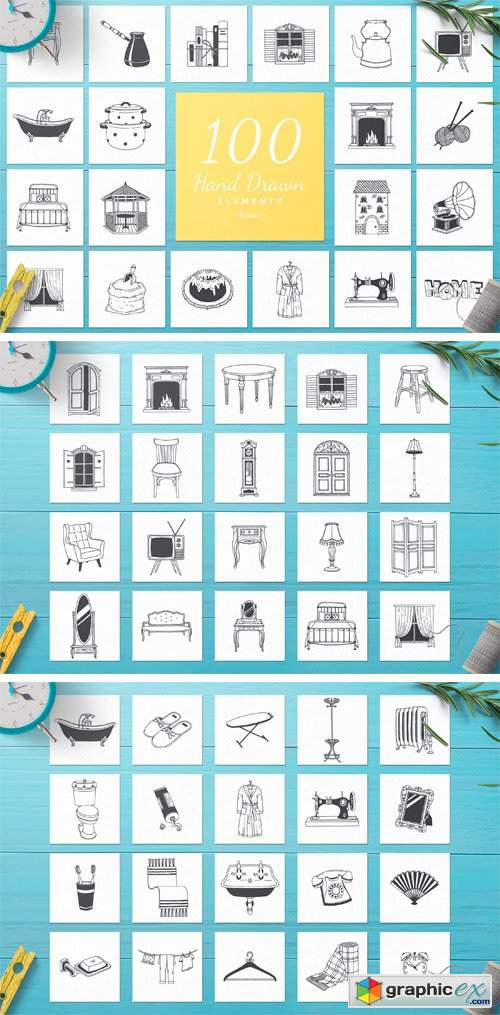 100 Hand Drawn Elements -Home-