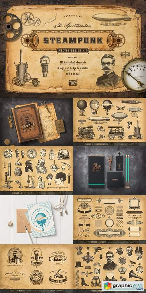 The Steampunk Vector Design Kit