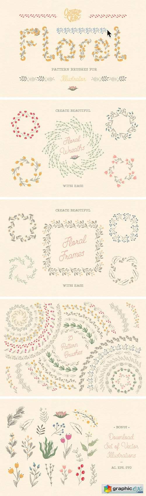 Floral Pattern Brushes For Ai