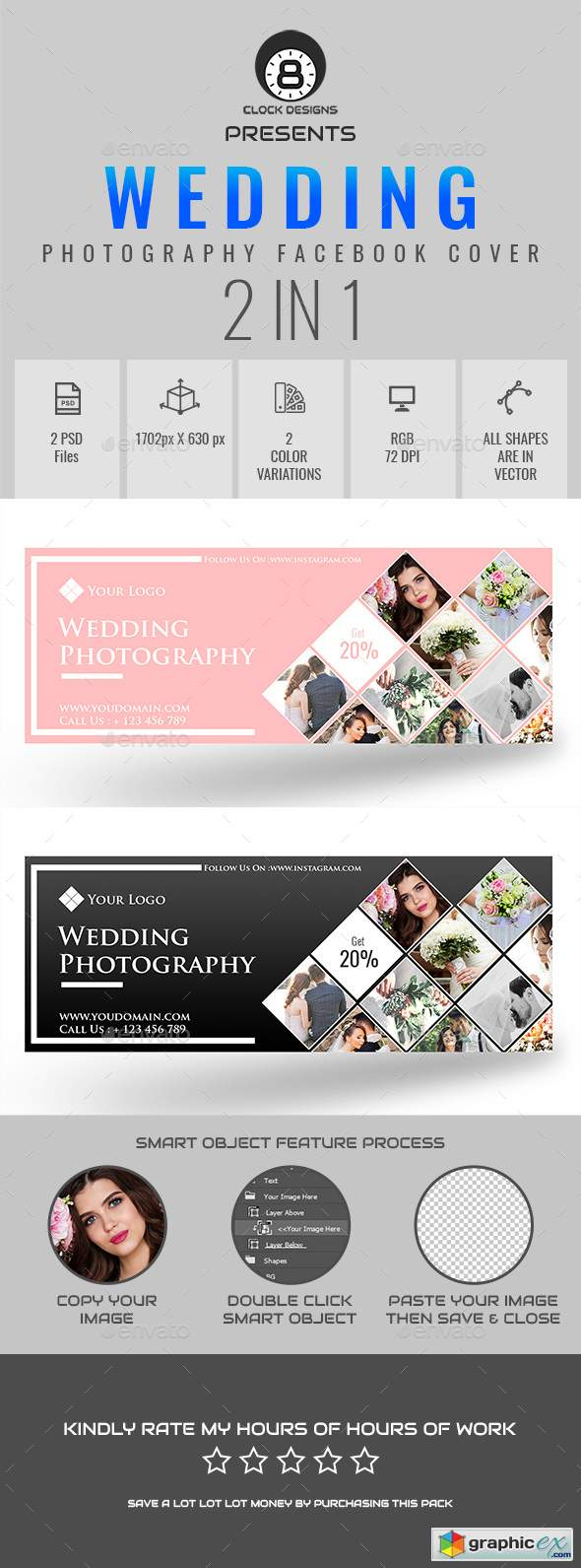Wedding Photography Facebook Timeline Cover ( 2 in 1 )