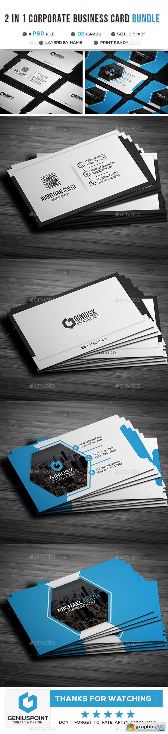 2 in 1 Corporate Business Card 21889670