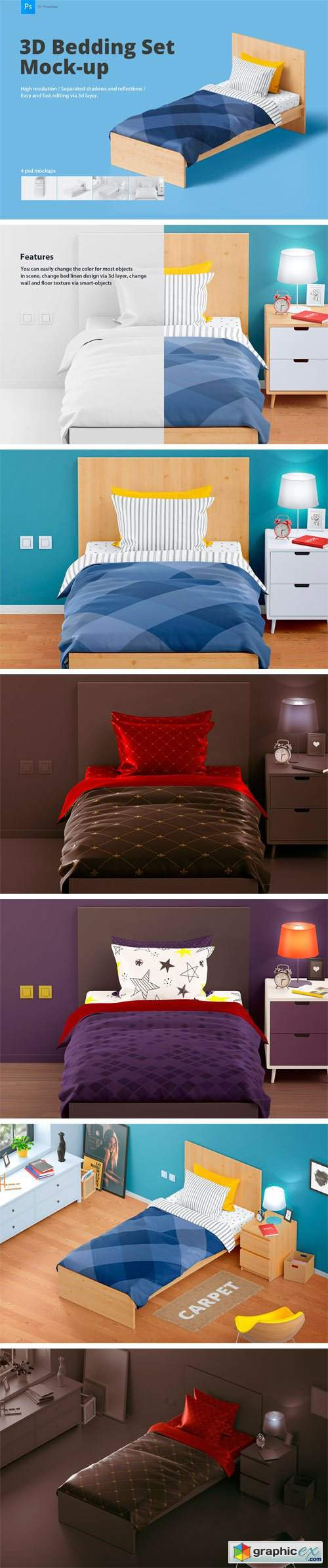 Bedding Set Mockup | Single Bed