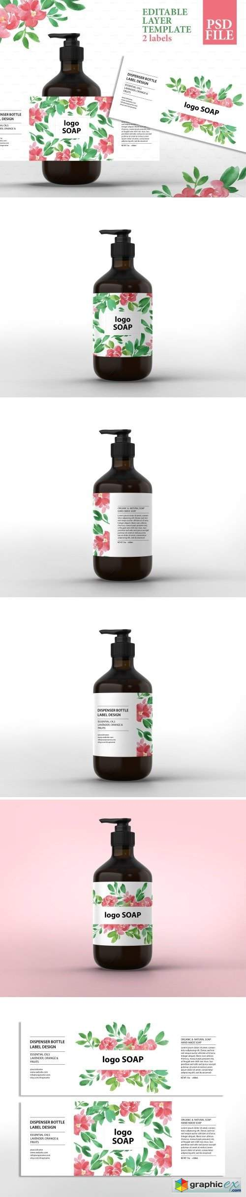 Soap label design template psd