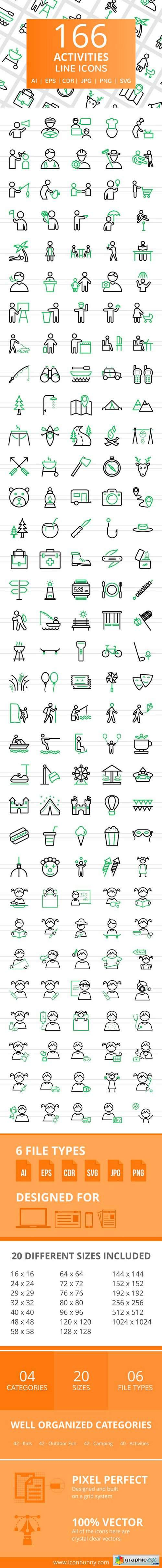 166 Activities Line Icons