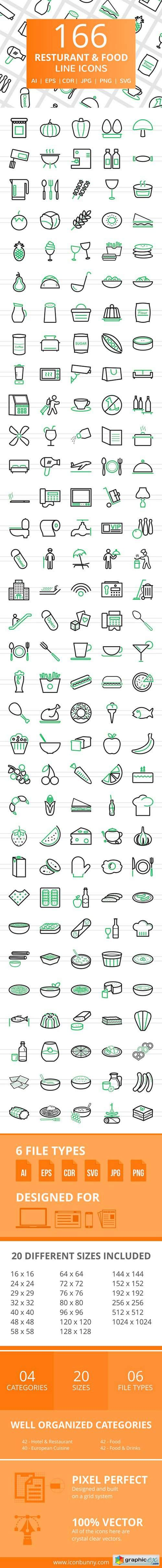 166 Restaurant & Food Line Icons