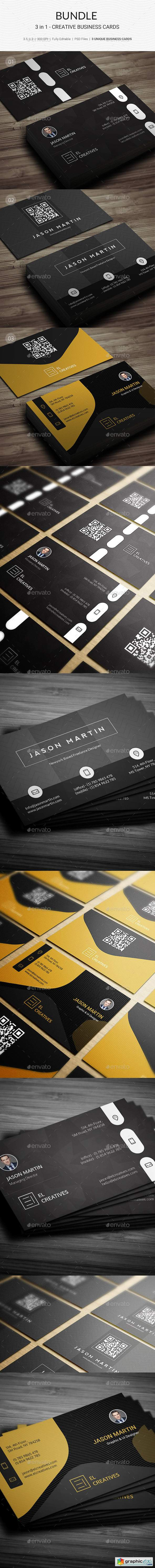 Business Card Bundle 21955796Bundle - 3 in 1 - Creative Business Cards - 180