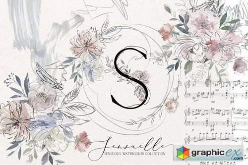 Sensuale Watercolor Floral Clipart