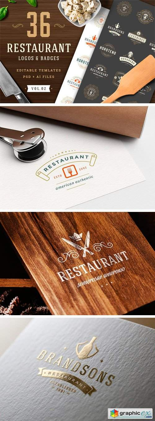 36 Restaurant Logos and Badges 2422311