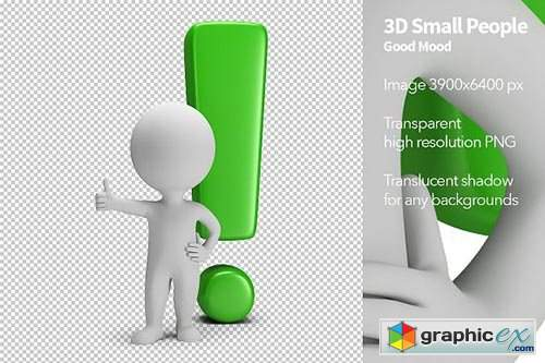 3d, small, people, exclamation, mark