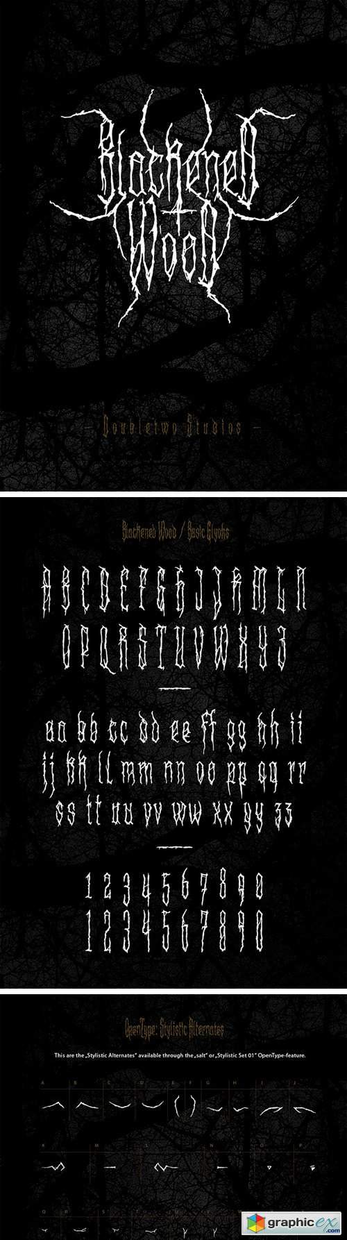 XXII Blackened Wood Font