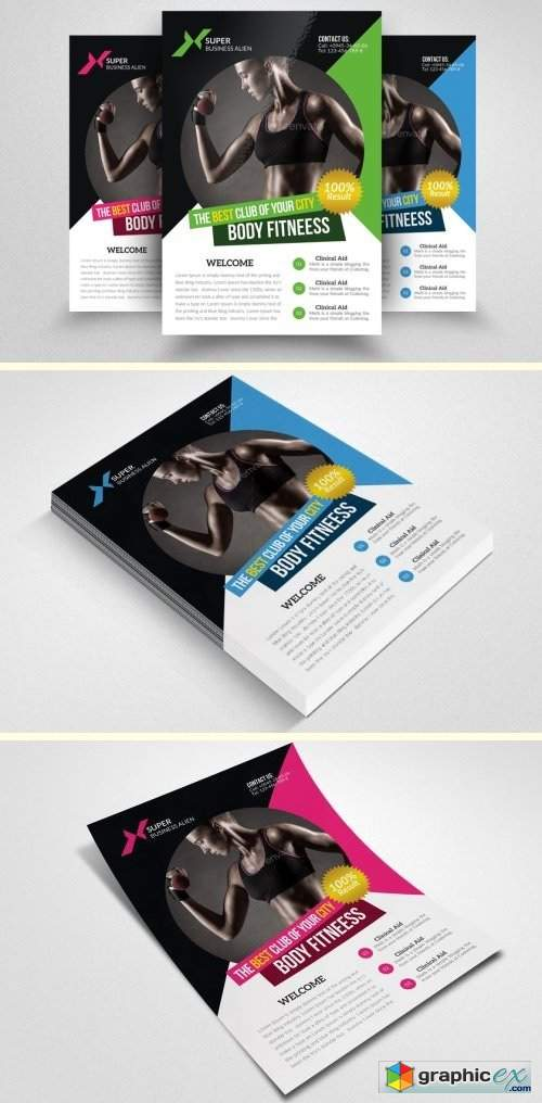 Body Fitness Club Flyer Template » Free Download Vector Stock Image ...