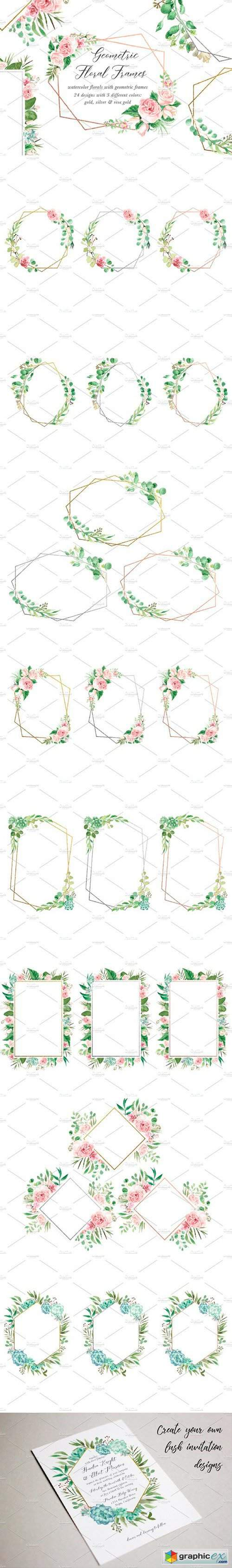 Watercolor Floral Geometric Frames
