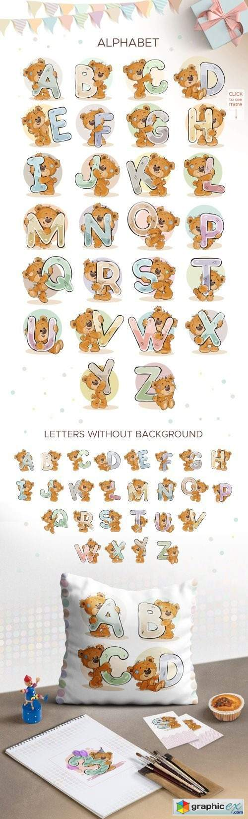 Kid's alphabet with cartoon bear