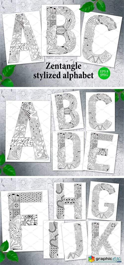 Zentangle Stylized Unusual Alphabet