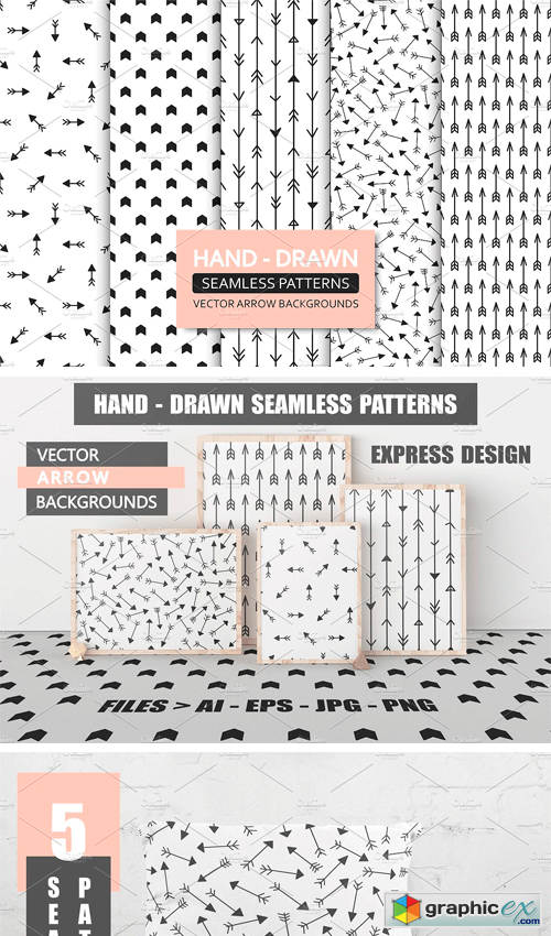 Hand Drawn Seamless Arrow Patterns