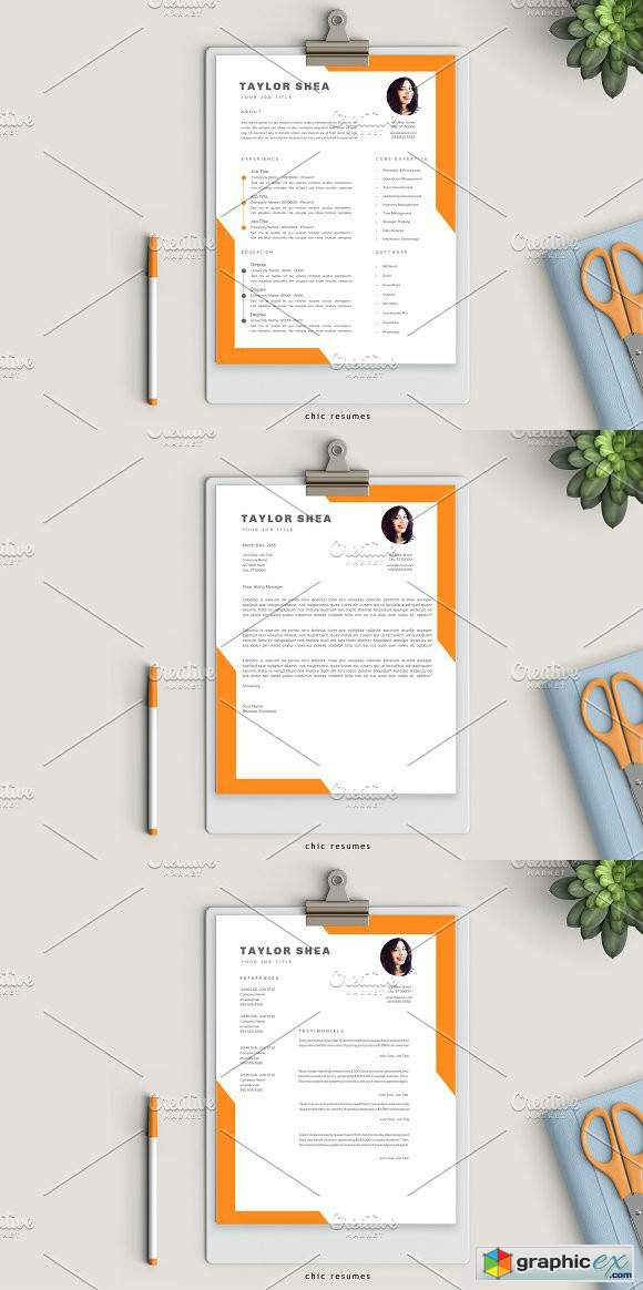 Creative 3-Page Resume in Orange