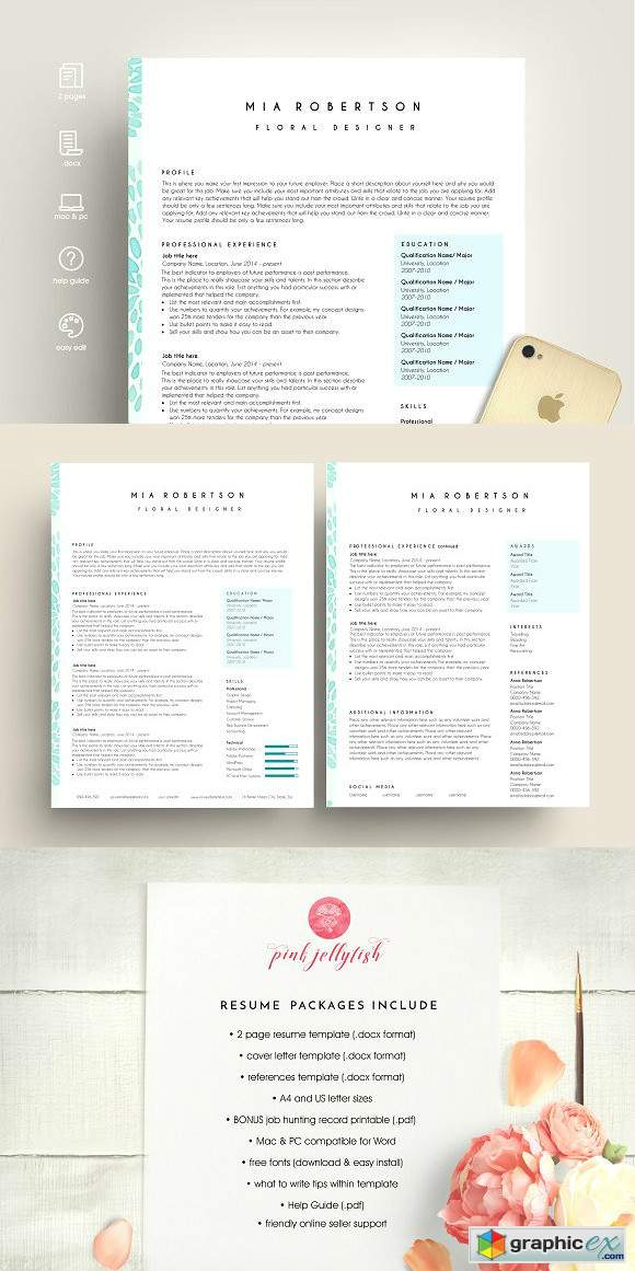 Creative resume template word blue