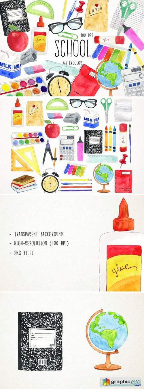 Watercolor School Clipart