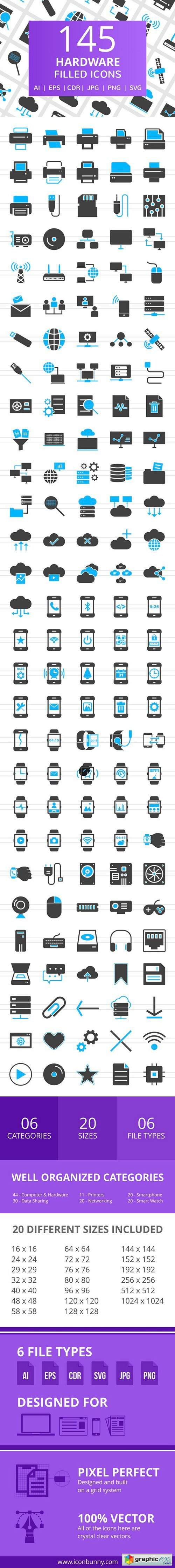 145 Hardware Filled Icons