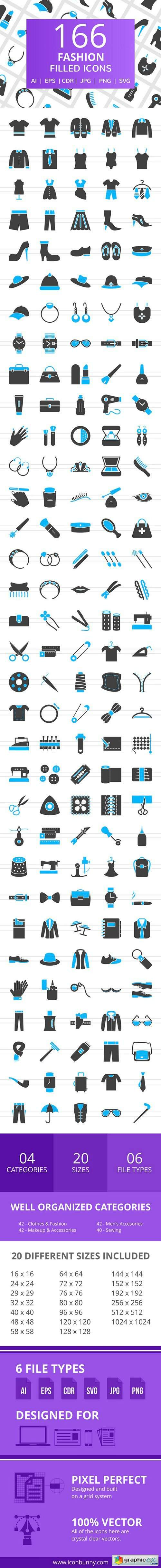 166 Fashion Filled Icons