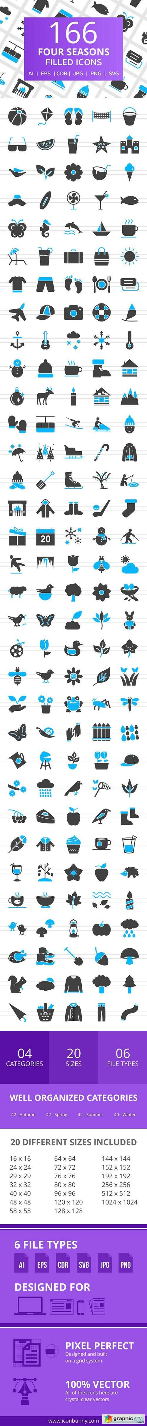 166 Four Seasons Filled Icons