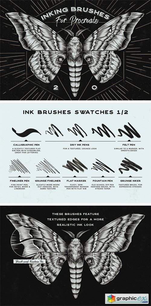 Procreate Inking Brushes - Set of 20 » Free Download Vector Stock