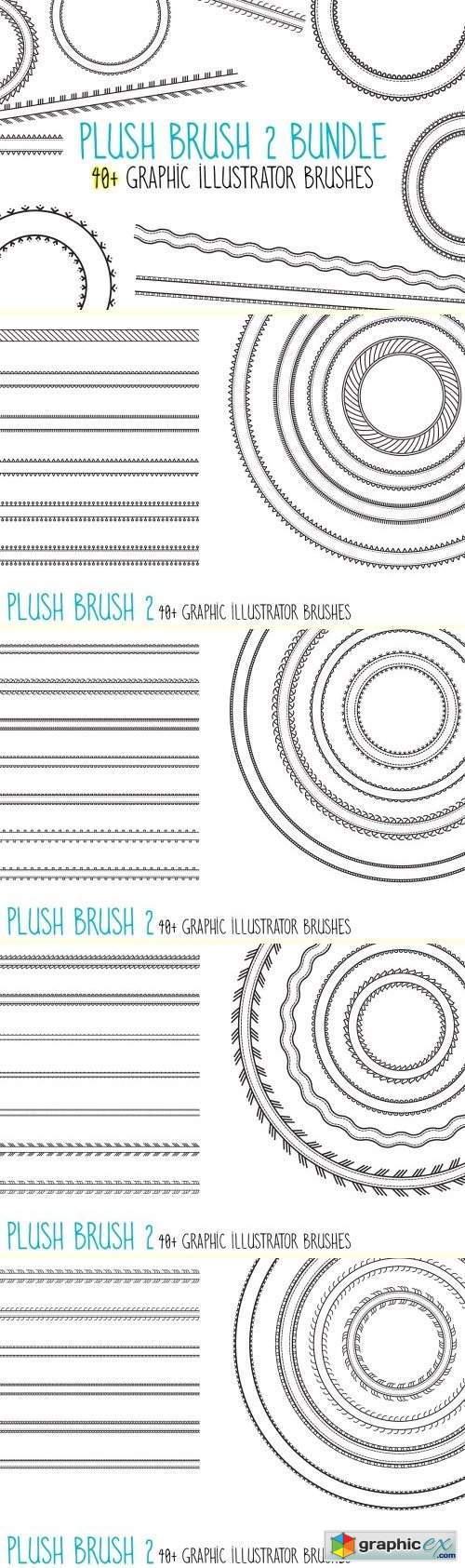 Plush Brush 2: 40 Graphic AI Brushes