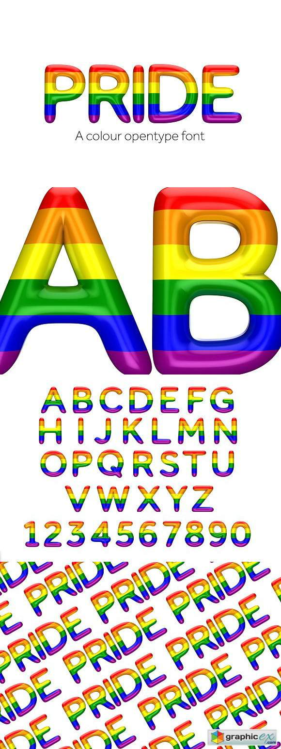 Pride Font Color Open Type Font 187 Free Download Vector
