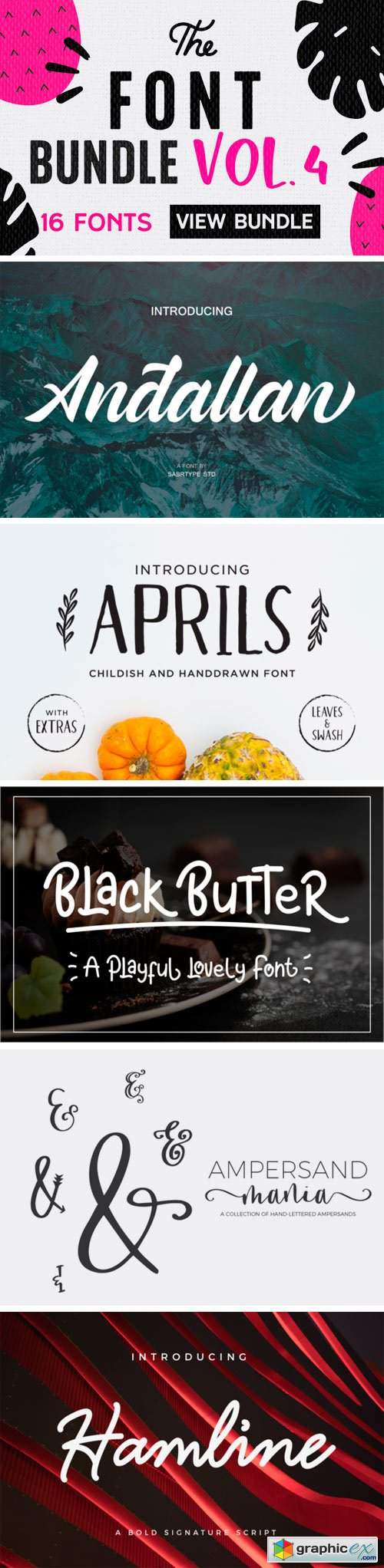 16 Premium Fonts Bundle Vol. 4