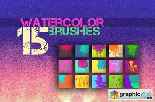 15 Watercolor Brushes for PS 170073