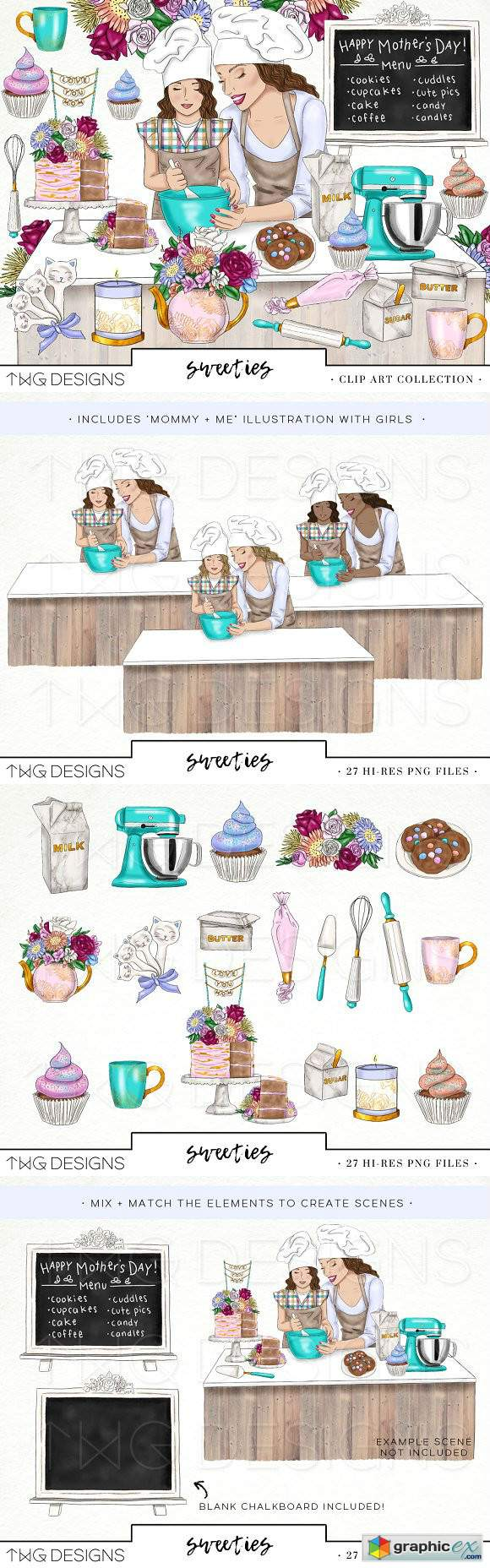 Baking Sweets Fashion Girl Clip Art