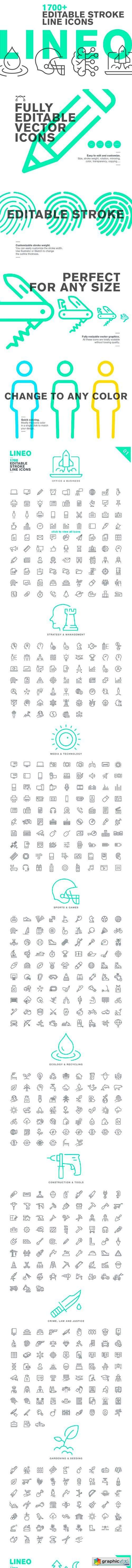 LINEO - 1700+ fully editable icons