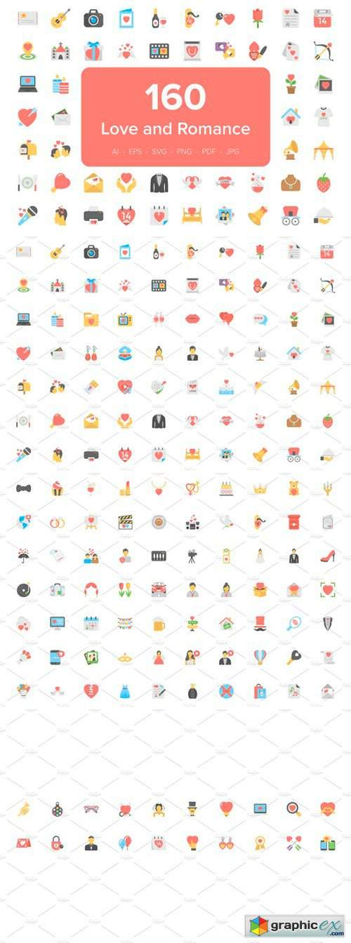 160 Love and Romance Flat Icons