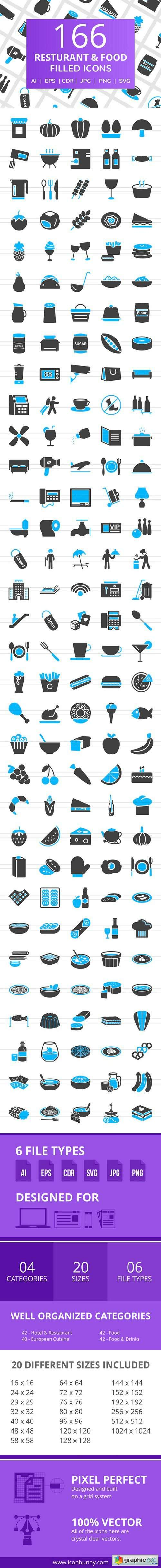 166 Restaurant & Food Filled Icons