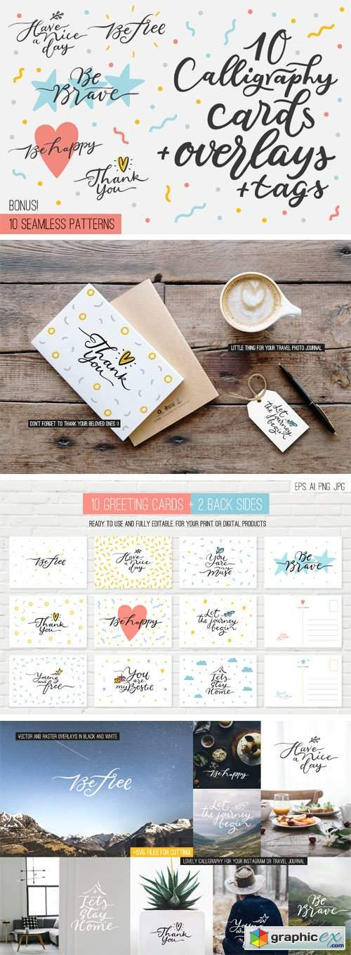 Designbundles - 10 Overlays, Cards and Tags