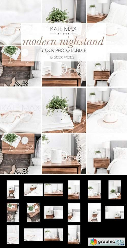 Neutral Nightstand Stock Photo Bundle