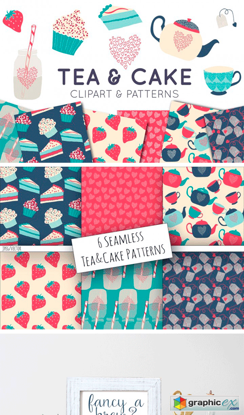 Tea & Cake Clipart and Seamless Pattern Collection