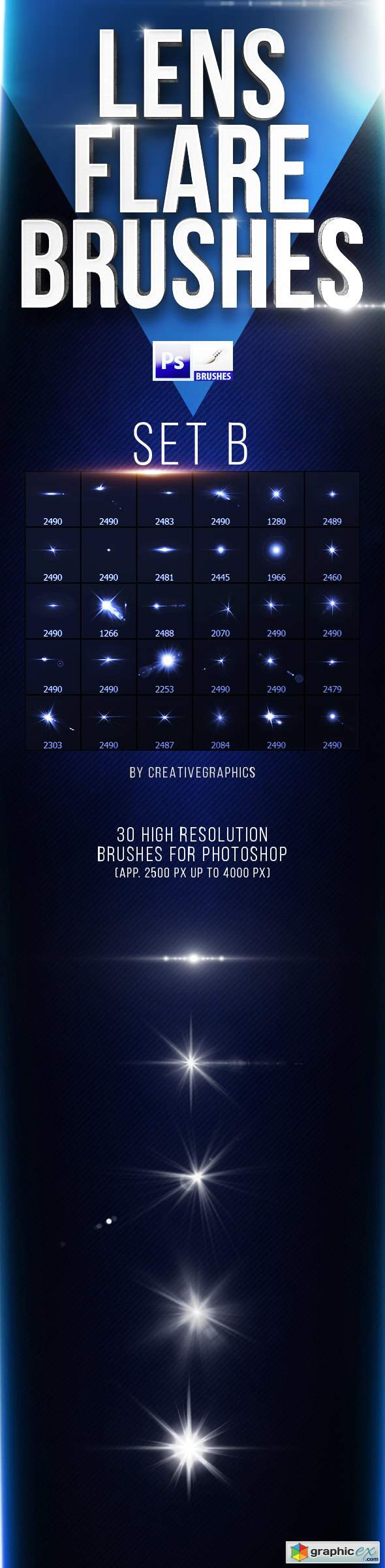 30 Lens Flare Brushes for Photoshop Set B