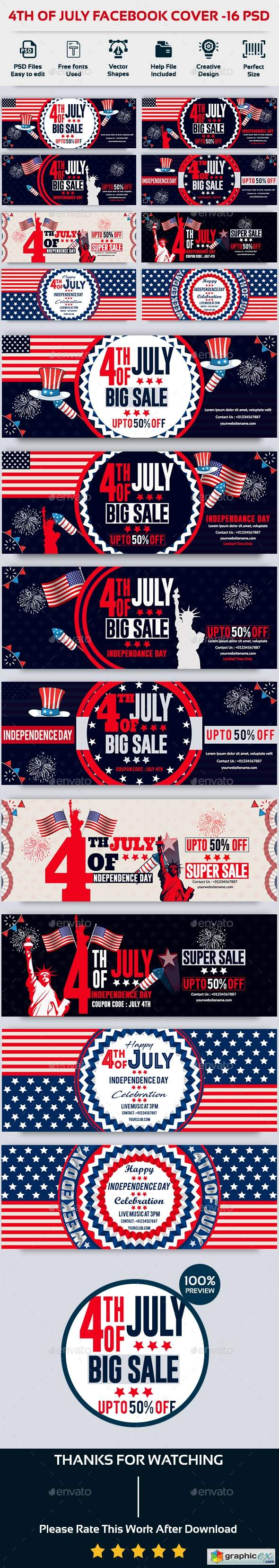 4th of July Facebook Cover-Bundle-16 PSD
