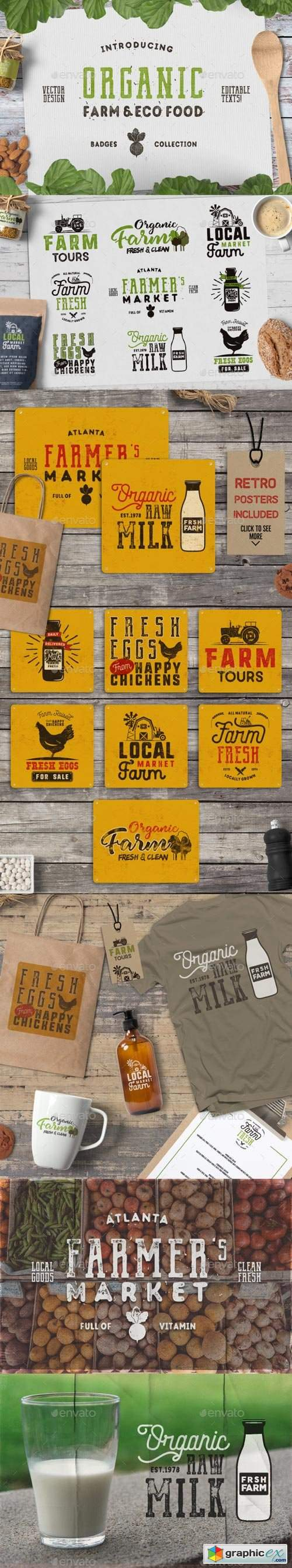 Organic Farm & Eco Food Badges 19901385
