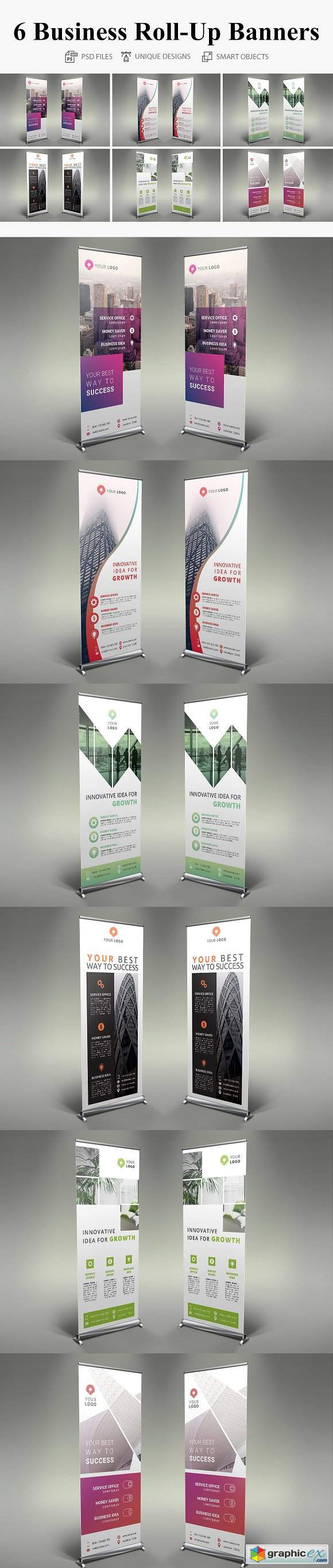 6 Business Roll Up Banners