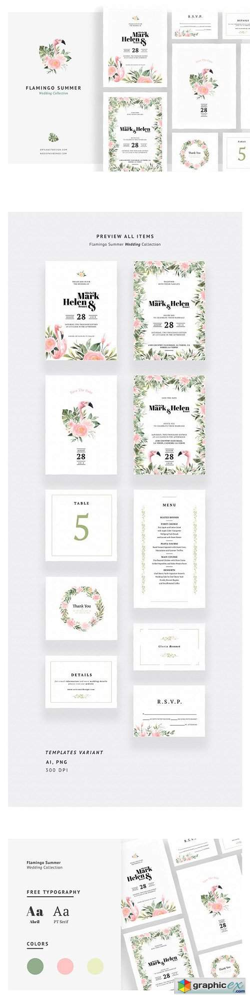 Flamingo Summer Wedding Invitations