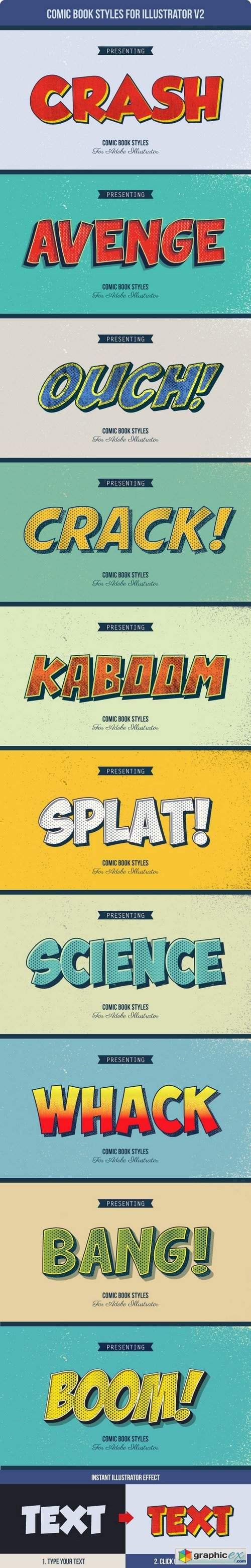 Comic Book Styles for Illustrator V2 » Free Download Vector